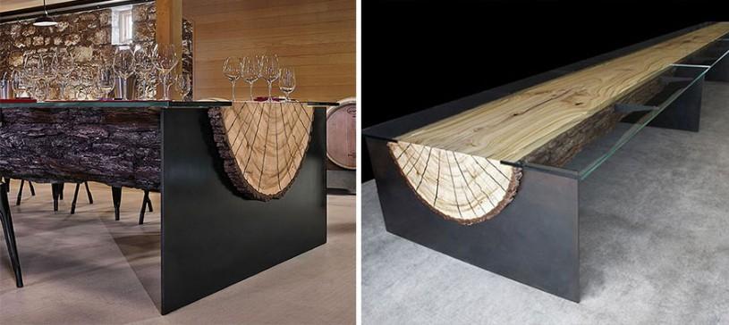 Стол из ствола дерева