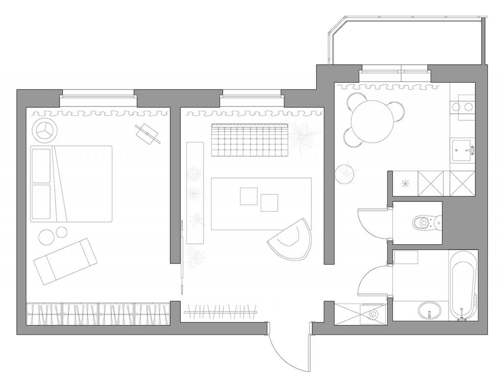 планировка двухкомнатной квартиры, план квартиры в панельке, дизайн панельки